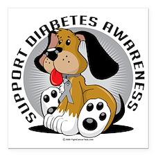 "Diabetes-Dog Square Car Magnet 3"" x 3"""