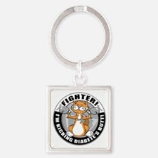 Diabetes-Cat-Fighter Square Keychain