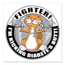 "Diabetes-Cat-Fighter Square Car Magnet 3"" x 3"""