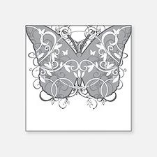 "Diabetes-Butterfly-blk Square Sticker 3"" x 3"""