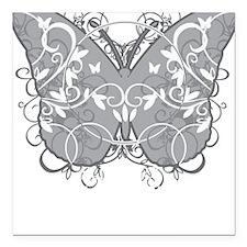 "Diabetes-Butterfly-blk Square Car Magnet 3"" x 3"""