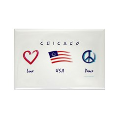 Chicago Love - USA - Peace Rectangle Magnet (100 p