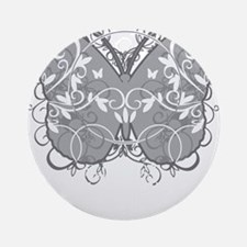 Diabetes-Butterfly-blk Round Ornament