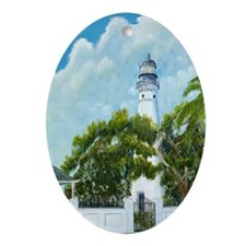 Key West Light tall Oval Ornament