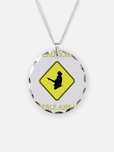 Irish Dance Caution Necklace Circle Charm