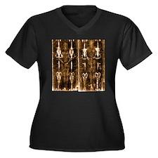 Shroud of Tu Women's Plus Size Dark V-Neck T-Shirt