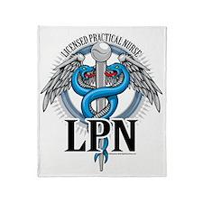 LPN-Caduceus-BLue Throw Blanket