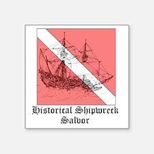 """2-15th_century_galleon stor Square Sticker 3"""" x 3"""""""