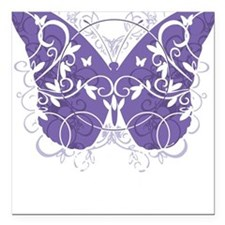 """Epilepsy-Butterfly-blk Square Car Magnet 3"""" x 3"""""""