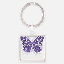 Epilepsy-Butterfly-blk Square Keychain