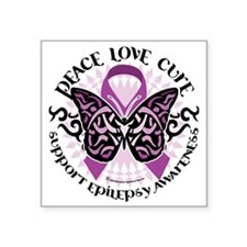 "Epilepsy-Butterfly-Tribal-2 Square Sticker 3"" x 3"""