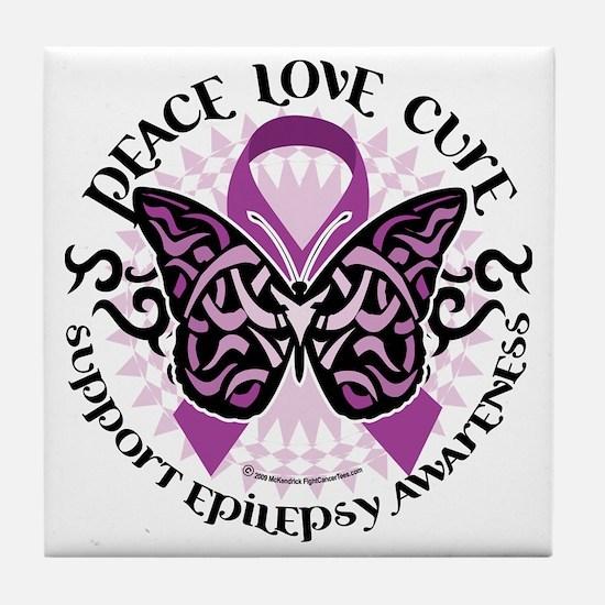 Epilepsy-Butterfly-Tribal-2 Tile Coaster