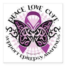 "Epilepsy-Butterfly-Triba Square Car Magnet 3"" x 3"""