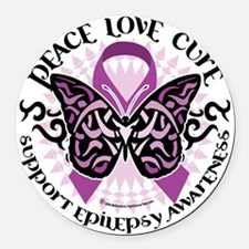 Epilepsy-Butterfly-Tribal-2 Round Car Magnet