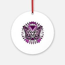 Epilepsy-Butterfly-Tribal-2-blk Round Ornament