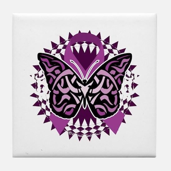 Epilepsy-Butterfly-Tribal-2-blk Tile Coaster