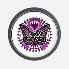 Epilepsy-Butterfly-Tribal-2-blk Wall Clock