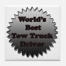 Worlds best tow truck driver copy Tile Coaster