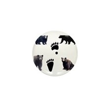 Black Bears and Tracks Mini Button (10 pack)