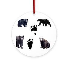 Black Bears and Tracks Ornament (Round)