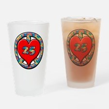 peace heart and 25 copy copy Drinking Glass