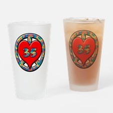 peace heart and 35 copy Drinking Glass