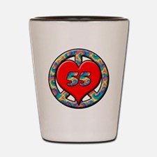 peace heart and 55 copy Shot Glass