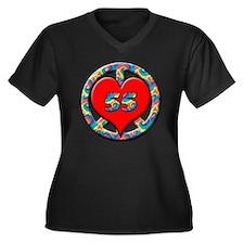 peace heart  Women's Plus Size Dark V-Neck T-Shirt