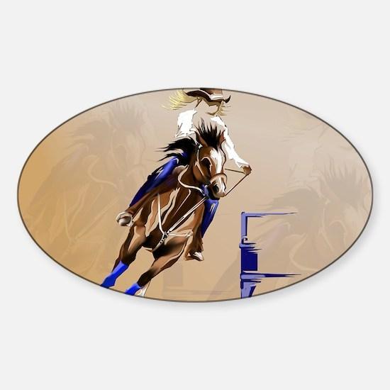 2-Barrel Horse-Yardsign Sticker (Oval)