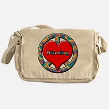 peace heart and nursing Messenger Bag