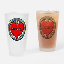 peace heart and nursing Drinking Glass