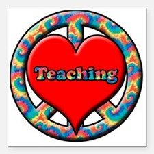 """peace heart and Teaching Square Car Magnet 3"""" x 3"""""""
