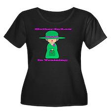 motherin Women's Plus Size Dark Scoop Neck T-Shirt