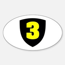 Number 3 Oval Decal