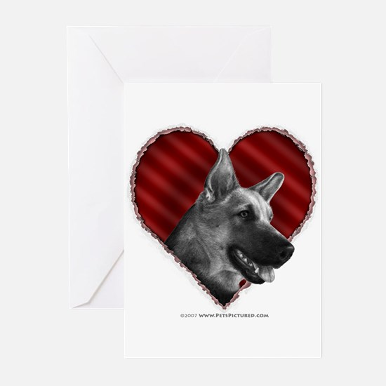 German Shepherd Heart Greeting Cards (Pk of 10