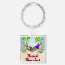 Beach Bunnies Card Square Keychain