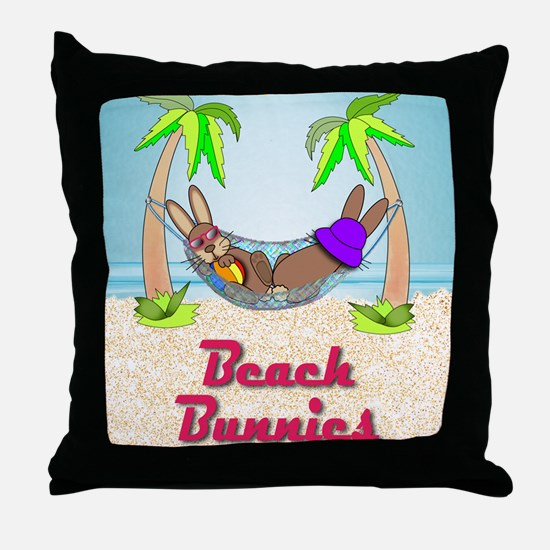 Beach Bunnies Card Throw Pillow