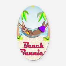 Beach Bunnies Card Oval Car Magnet