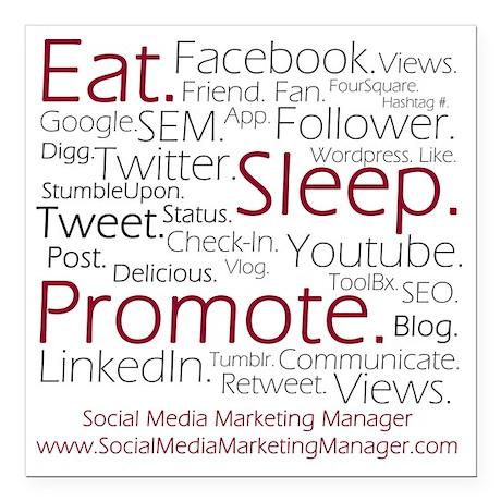 "Social Media Marketing M Square Car Magnet 3"" x 3"""