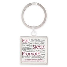 Social Media Marketing Manager Square Keychain