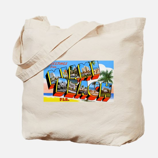 Miami Beach Florida Greetings Tote Bag