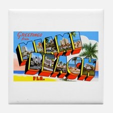 Miami Beach Florida Greetings Tile Coaster