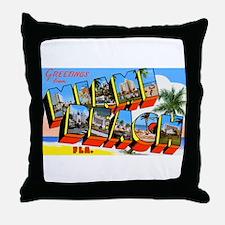 Miami Beach Florida Greetings Throw Pillow