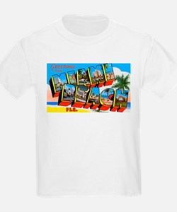 Miami Beach Florida Greetings (Front) Kids T-Shirt