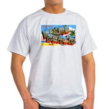 Miami Beach Florida Greetings (Front) Ash Grey T-S