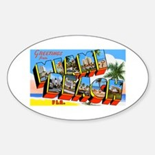 Miami Beach Florida Greetings Oval Decal