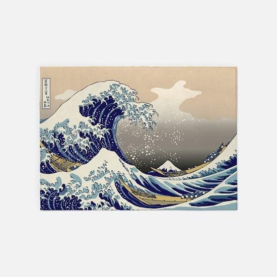 Hokusai_Great_Wave 5'x7'Area Rug