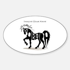 Isabella black horse Oval Decal