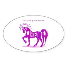 Isabella pink horse Oval Decal