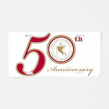 50thAnn1_goldtrim Aluminum License Plate
